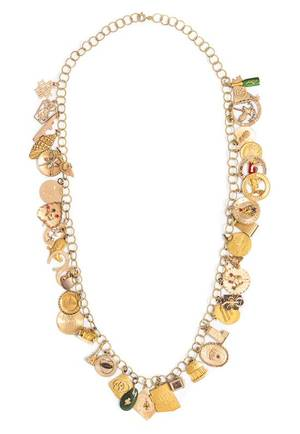 A 14 Karat Yellow Gold Charm Necklace with Numerous Attached Charms