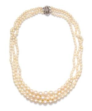 A 14 Karat White Gold and Graduated Cultured Pearl Multi Strand Necklace