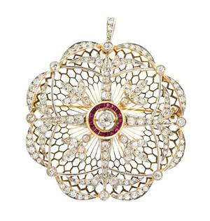 An Edwardian Platinum Topped Gold Ruby and Diamond PendantBrooch