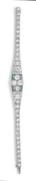 An Art Deco Platinum Diamond and Simulated Emerald Bracelet