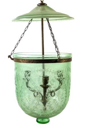 A Neoclassical Style Etched Glass Fixture