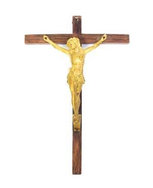 A Continental Bronze Crucifix