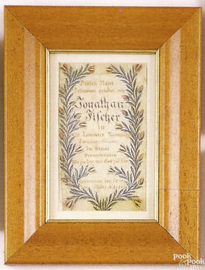 Lancaster County Pennsylvania watercolor and ink on paper bookplate dated 1846