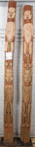 Two African Carved Wood Architectural Fragments