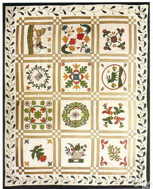 Vibrant American pieced and appliqued cotton album quilt dated 1861 and 1865