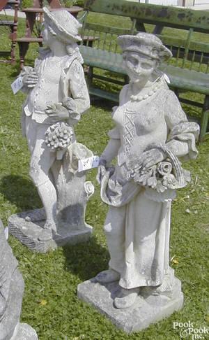Pair of English codestone garden statues 19th c
