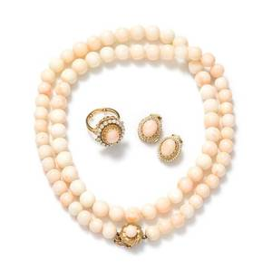 A Collection of 14 Karat Yellow Gold Coral and Seed Pearl Jewelry