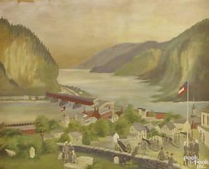 American folk art landscape late 19th c