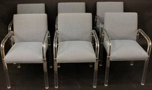 Set of Six Modern Lucite Armchairs