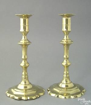 Pair of Queen Anne brass candlesticks mid 18th c
