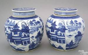 Pair of Chinese export porcelain Canton ginger jars 19th c