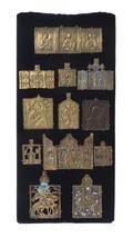 Twelve Russian Polychrome Enameled Bronze Icon Pendants
