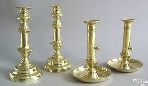 Pair of English brass candlesticks ca 1830