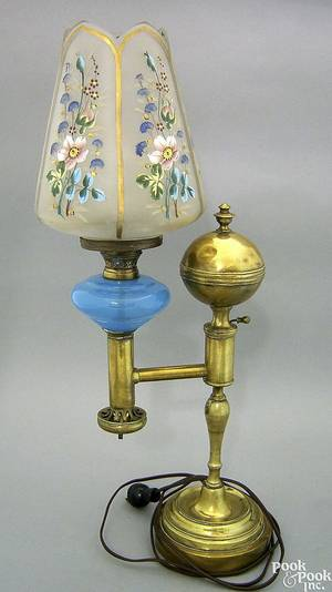 Brass and glass Argand lamp ca 1830