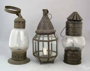 Three tin hanging lanterns 19th c