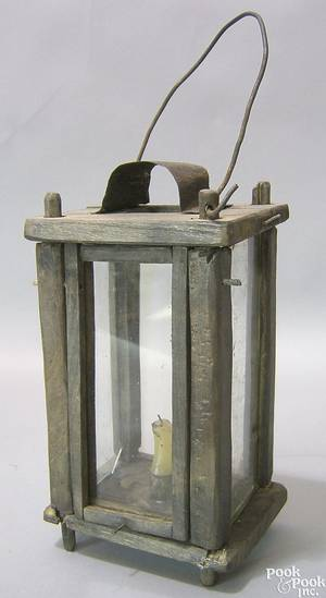 Continental wood and glass lantern 19th c