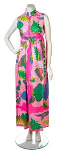 An Averardo Bessi Pink and Green Silk Print Gown