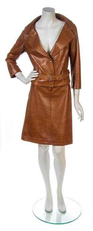 A Celine Cognac Leather Skirt Suit