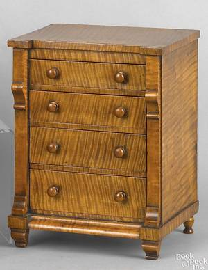 Pennsylvania late Federal tiger maple miniature chest of drawers