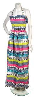An Oscar de la Renta Multicolor Gingham Print Cotton Dress
