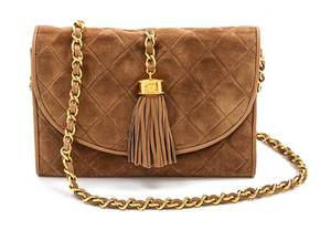 A Chanel Tan Suede Quilted Flap Bag