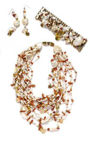 A Gerda Lynggaard for Monies Mother of Pearl and Coral Demi Parure