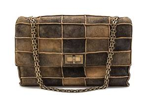 A Chanel Brown Suede Patchwork Flap Bag