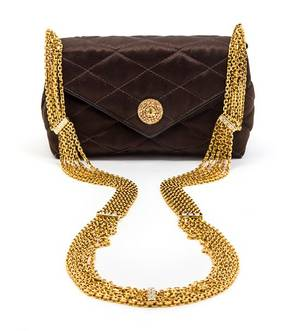 A Chanel Brown Satin Quilted Convertible Evening Bag