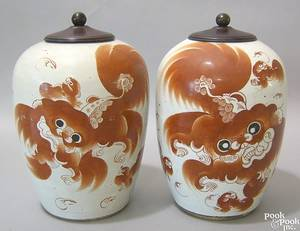 Pair of Chinese export porcelain ginger jars 19th c