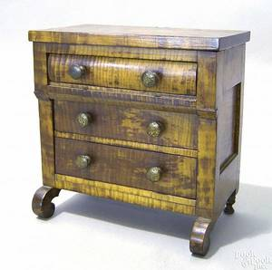 Empire tiger and birdseye maple miniature chest of drawers mid 19th c
