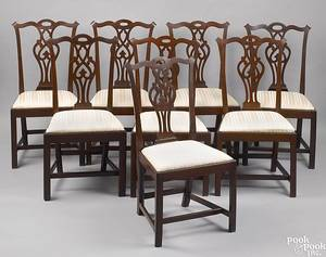 Assembled set of 8 New England Chippendale cherry dining chairs ca 1780
