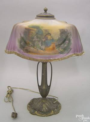 Pittsburgh Lamp Brass and Glass Co reverse painted table lamp early 20th c