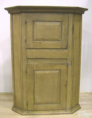 Painted pine hanging corner cupboard ca 1800