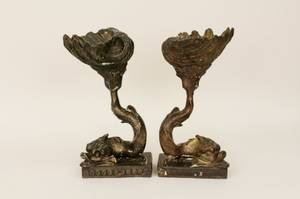 Pair of Plaster Dolphin Statues wBronze Finish