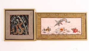 Two Framed Chinese Silk Hand Embroidered Textiles