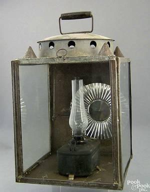 Tin wall lantern 19th c