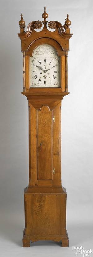 Lancaster County Pennsylvania Chippendale walnut tall case clock ca 1785