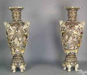 Pair of monumental Japanese Satsuma palace urns on stands early 20th c