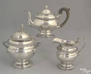 Philadelphia silver covered sugar and creamer ca 1815