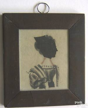 New England watercolor and hollowcut silhouette early 19th c