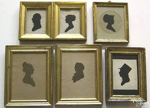 Six Peale Museum hollow cut silhouettes early 19th c
