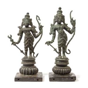 A Pair of Indian Bronze Figures of Deities