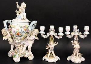 Dresden Style Porcelain Garniture w Cherub Motif