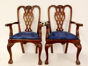 Pair of Mahogany Framed Chippendale Style Chairs