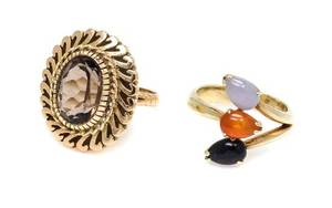 A Collection of 14 Karat Yellow Gold and Gemstone Rings