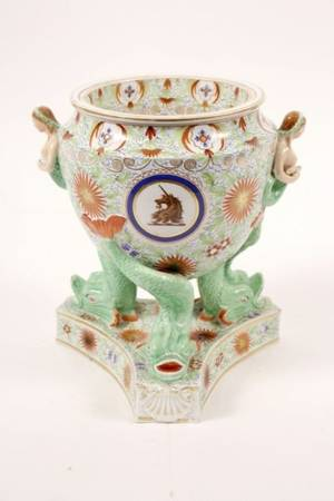 19th C Porcelain Fruit Cooler wMermaid Handles