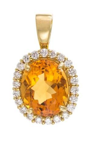 An 18 Karat Yellow Gold Citrine and Diamond Pendant