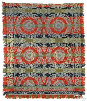 Pennsylvania jacquard coverlet dated 1847