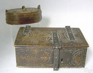 English beech lock box early 19th c