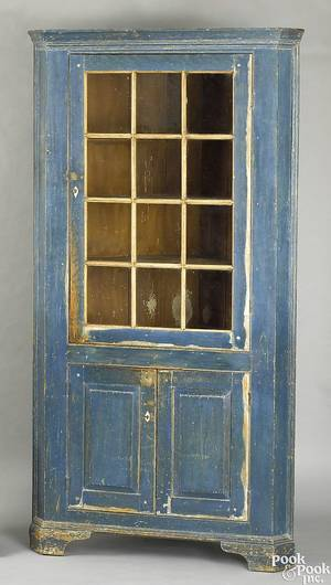 Pennsylvania painted pine corner cupboard ca 1810